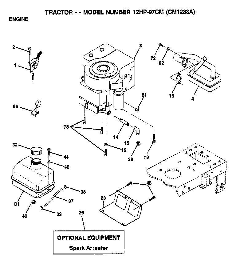AYP CM1238A Parts List