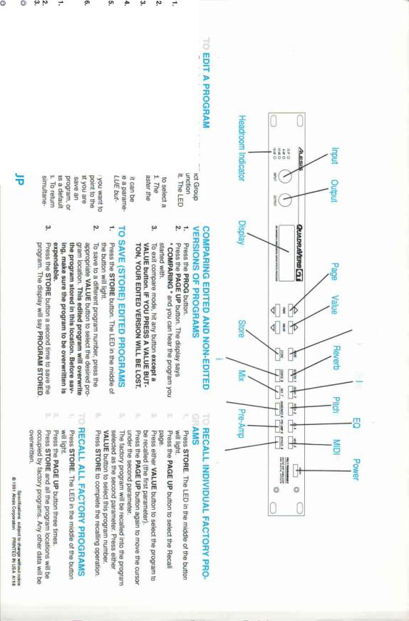 Alesis QUADRAVERBGT QUICKSETUP User Manual