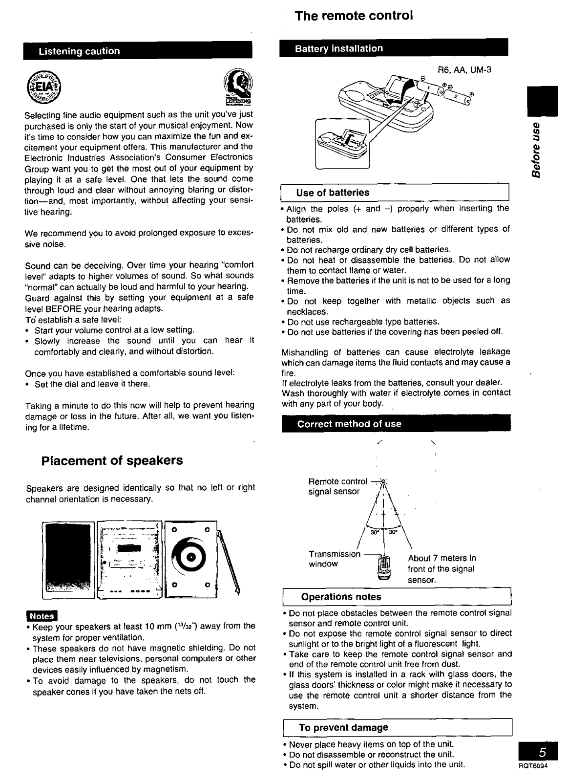 Panasonic SA-PM07, SC-PM07 User Manual