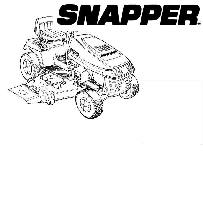 Snapper LT125H382KV, RLT140H422KV, LT150H422KV
