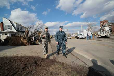 Staffers encountered a pair of state troopers who had to help us get clearance to leave Henryville; officials were attempting to close off the most damaged areas of the town to reduce unnecessary traffic in and out.