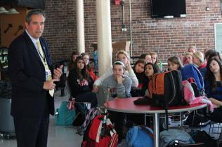 Principal Larry Wooldridge speaks to students on their behavior these past couple weeks.
