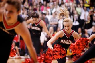 Jenna Penning permorms a new dance for this year's pep rally.
