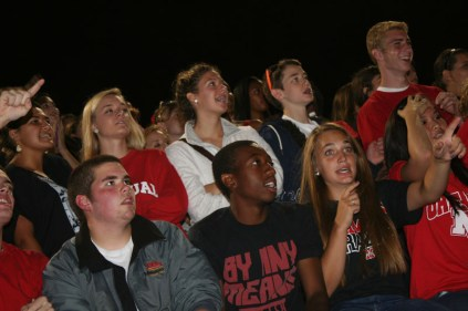 Senior students watches Manual make first down. Photo by Alexis Weaver