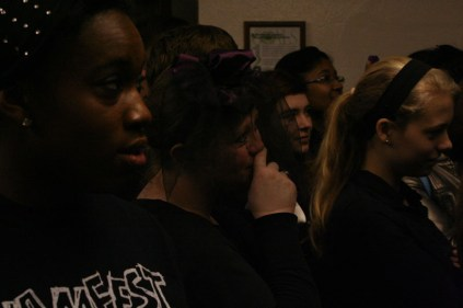 Students listen, laugh and some even cry during the funeral. Photo by Alexis Weaver