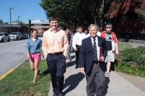 Mr. Garrett and his Military History class students walk over to the UL Student Activity Center to grab lunch.