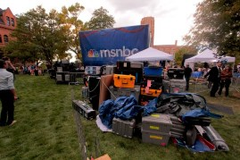 MSNBC's equipment was piled up behind their stage area.