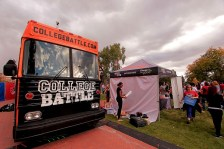 College Battle a tent and bus setup at the event.