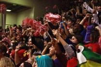 The junior class of 2014 cheers for themselves over the rest of the school at the pep rally. Photo by Meg Shanks