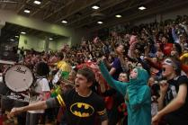 The juniors go wild in an attempt to win against the seniors in the Red/White cheer. Photo by Meg Shanks