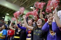 Juniors cheer with pompoms in the Junior student section. Photo by Alexa Pence.