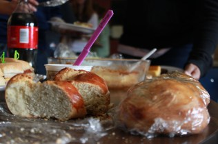 Photographer Molly Loehr's (11) homemade bread was cut into slices to be served. Photo by Meg Shanks.