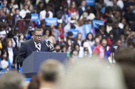 Pastor Ricky Nance, Sr. performs the invocation speech at University of Ohio on Sunday November 4, 2012. Photo by Yazmin Martinez.
