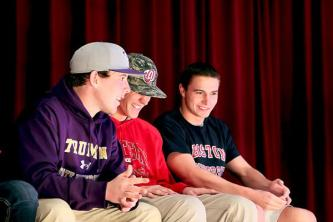 Ben Hachten (12) Harrison Scanlon (12) and Brian Habacivch (12) share a laugh before the ceremony.
