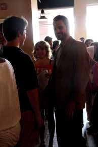 Mr. Wright talks with students in Quills Coffee.