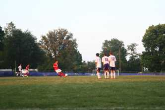 Connor Shea (12, #6) takes a free kick in the first half