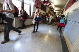 Maddie Satterly(12) struts through the halls to 4th block as Minnie Mouse. Photo by Jack Steele Mattingly