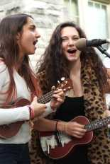 "Catherine Sar (12) and Samantha Crowder (12) both sang for the performance of ""Young Folks."" Photo by Julia Nguyen"