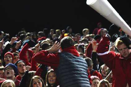 Breckinridge Stodghill (12) rallies up the crowd.