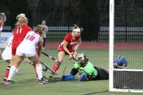 Sarah Biggs (39, 12) tries to get the ball in the cage in the second half. Photo by Mr. Bowman