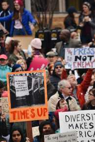 Signs relating to the #MeToo and the Time's Up Movements dominated the crowd. Photo by Piper Hansen.