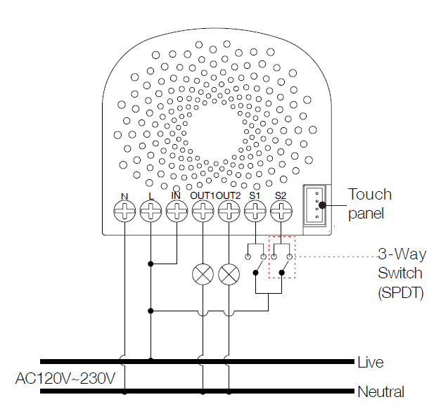 Wiring diagram of 3-Way connection for the external manual