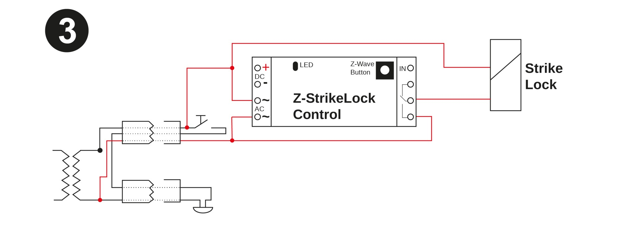 hight resolution of the image below shows how to change this existng cabling to power the strike lock in parallel