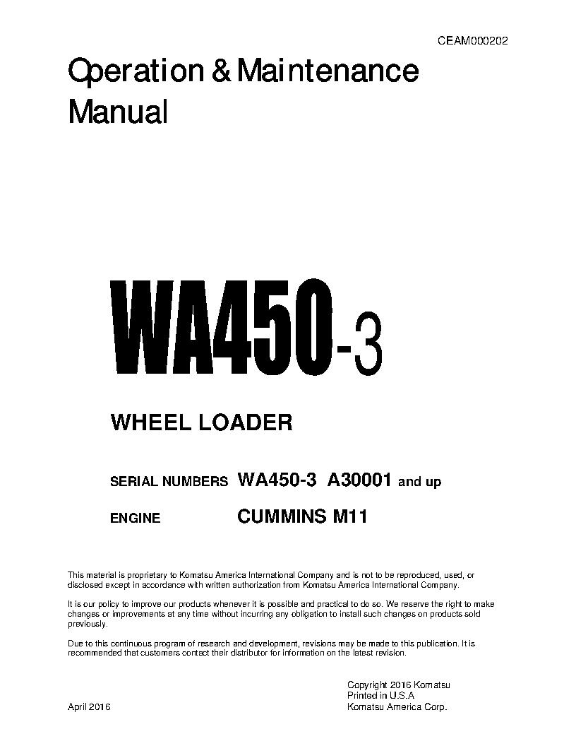 WA450-3(USA)-LE S/N A30001-UP Operation manual (English