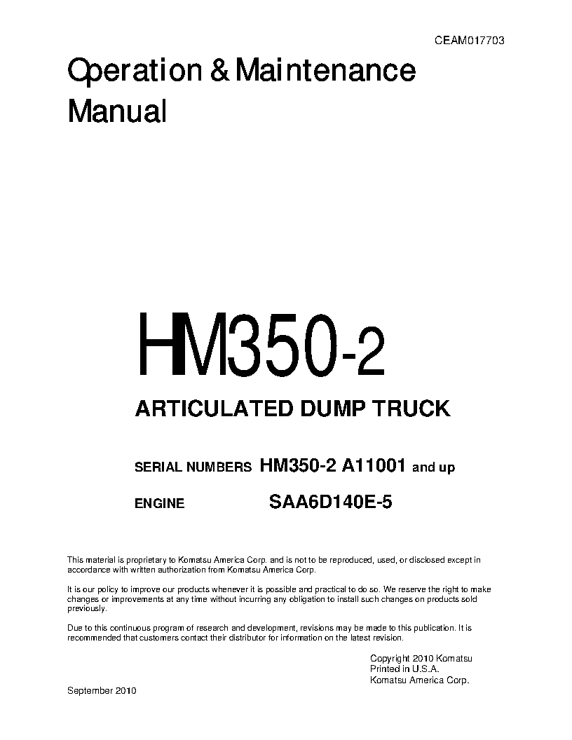 HM350-2(USA) S/N A11001-UP Operation manual (English