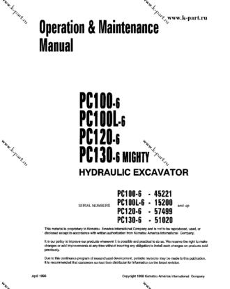PC200-6(JPN) S/N 80001-UP Operation manual (English