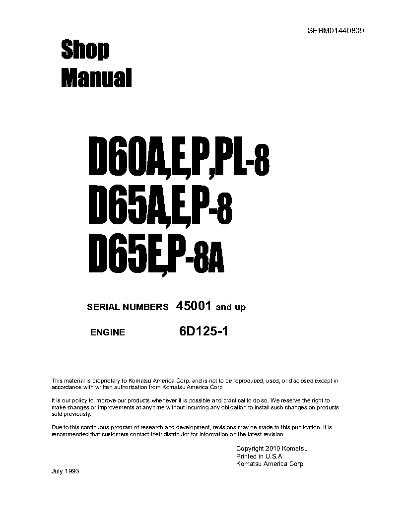 D65P-8(JPN) S/N 45001-UP Shop (repair) manual (English