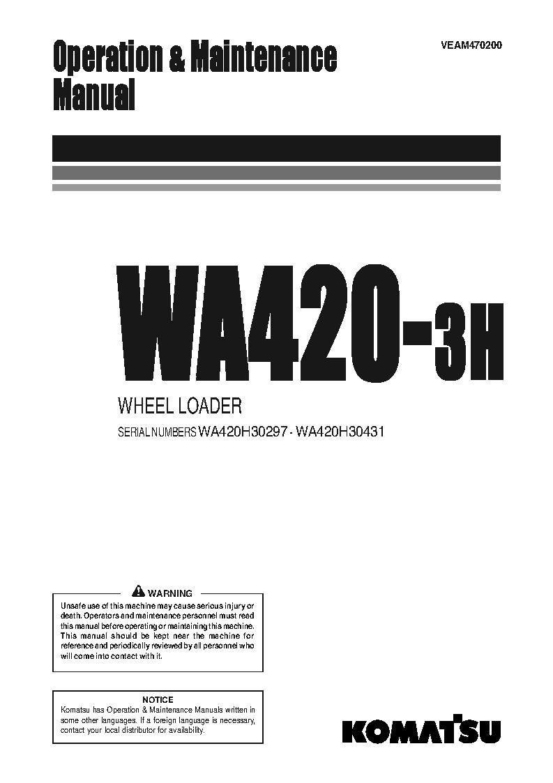 WA420-3(DEU)-H S/N H30297-H30431 Operation manual (English