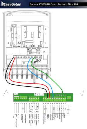 Daitem SC9200AU Controller to Nice A60 Control Panel  EasyGates Manuals