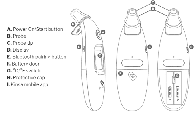 Kinsa Smart Ear 2-Button Thermometer Instruction Manual