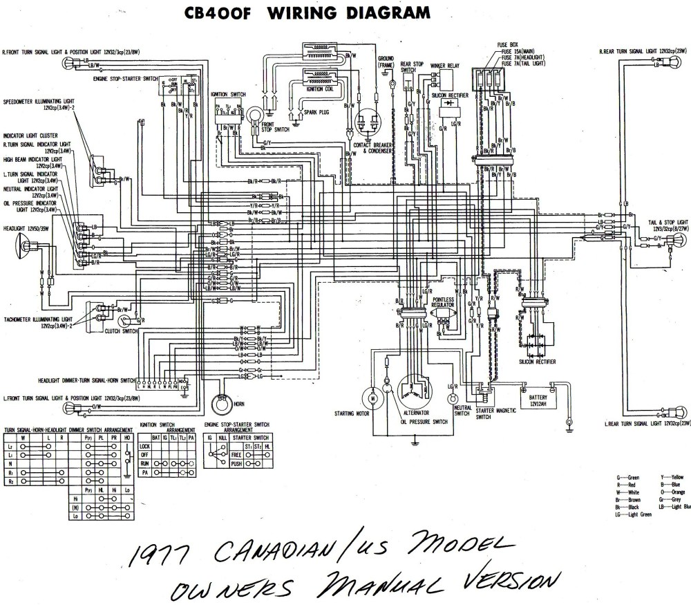 medium resolution of  1977 cb400f wiring diagram us canada b w