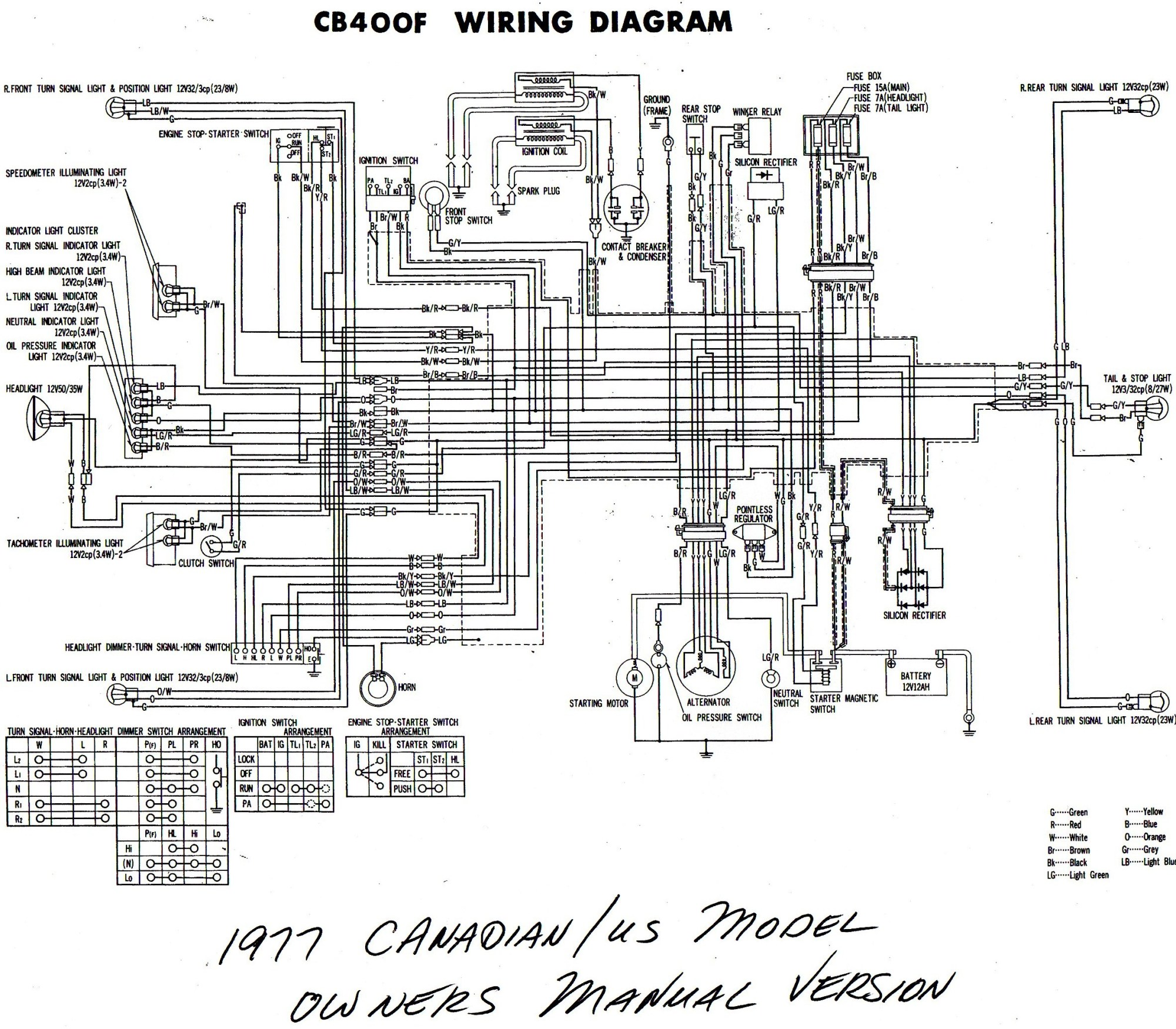 hight resolution of  1977 cb400f wiring diagram us canada b w