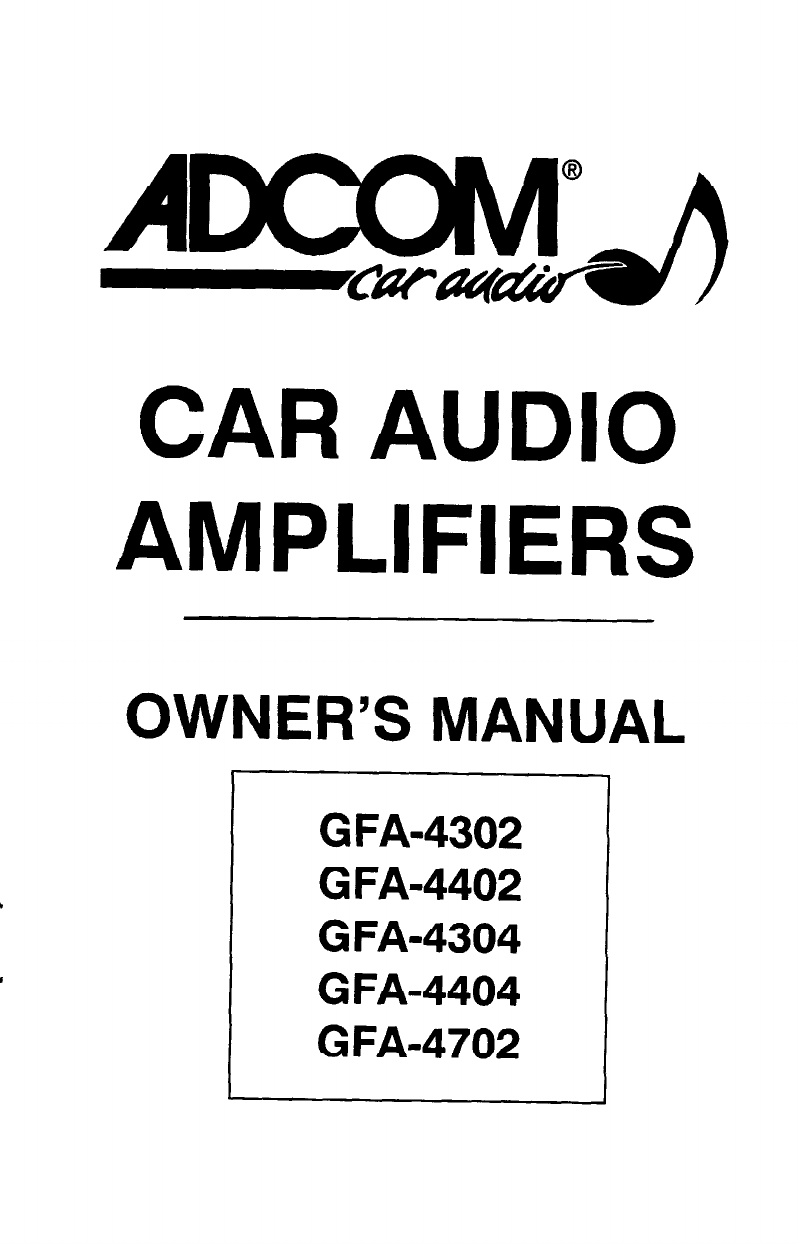 Download Adcom Car Amplifier GFA-4404 manual and user