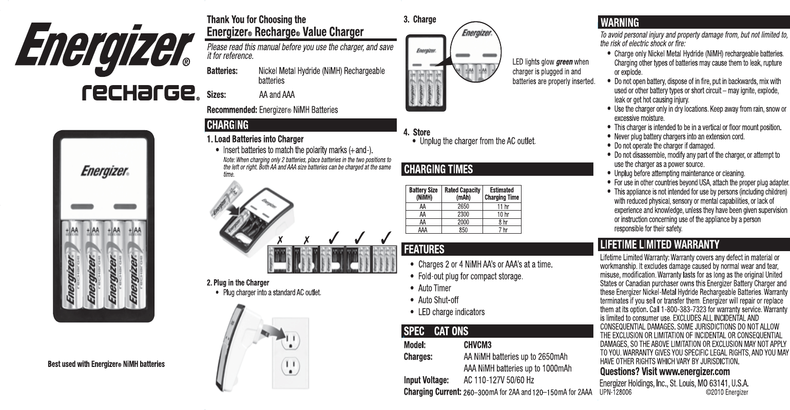 Energizer Battery Charger CHVCM3 manual