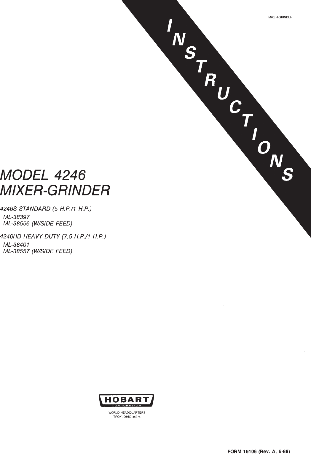 Download Hobart Mixer 4246 manual and user guides (page 1