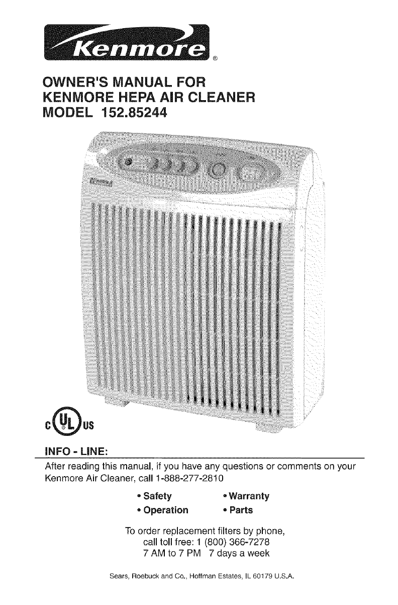 Download Kenmore Air Cleaner 85244 manual and user guides