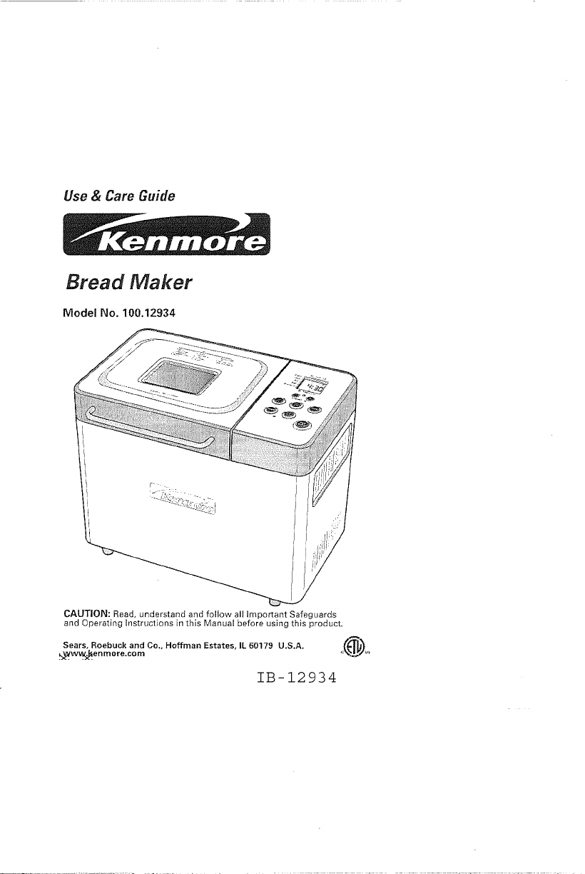 Download Kenmore Bread Maker 100.12934 manual and user