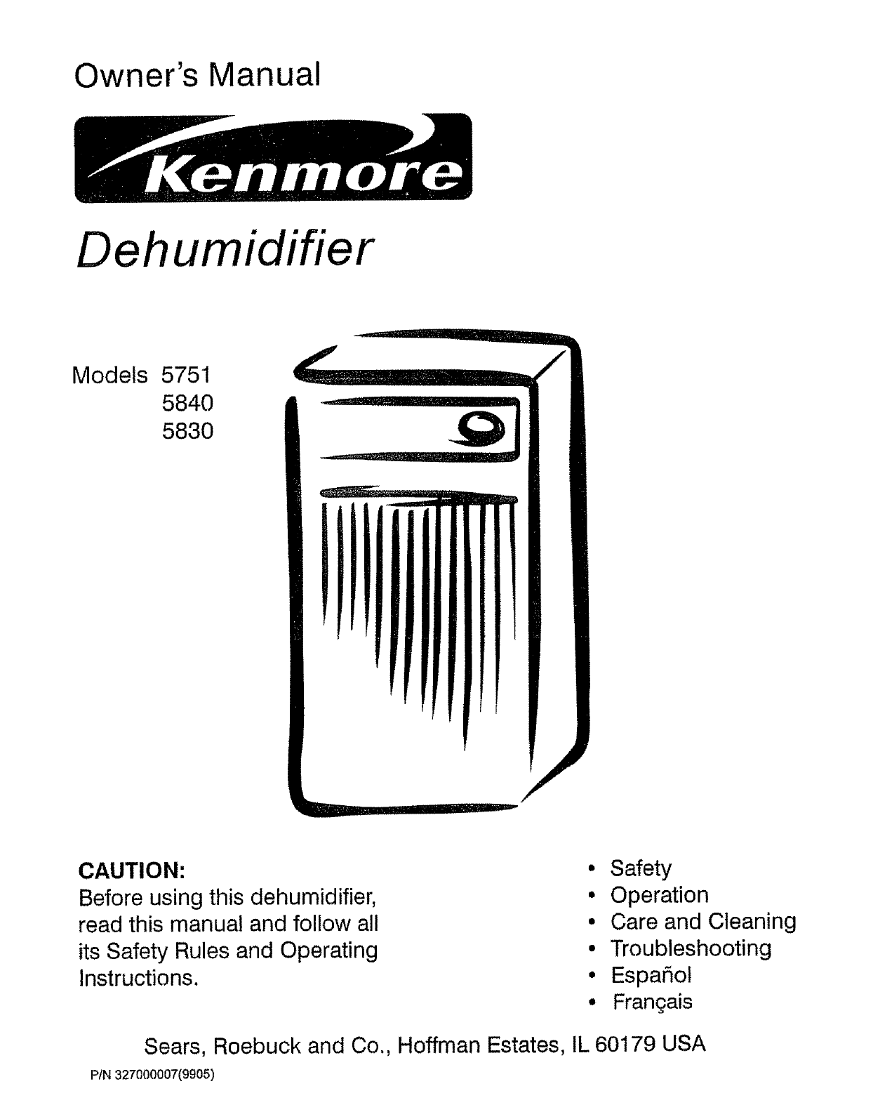 Download Kenmore Dehumidifier 5751 manual and user guides