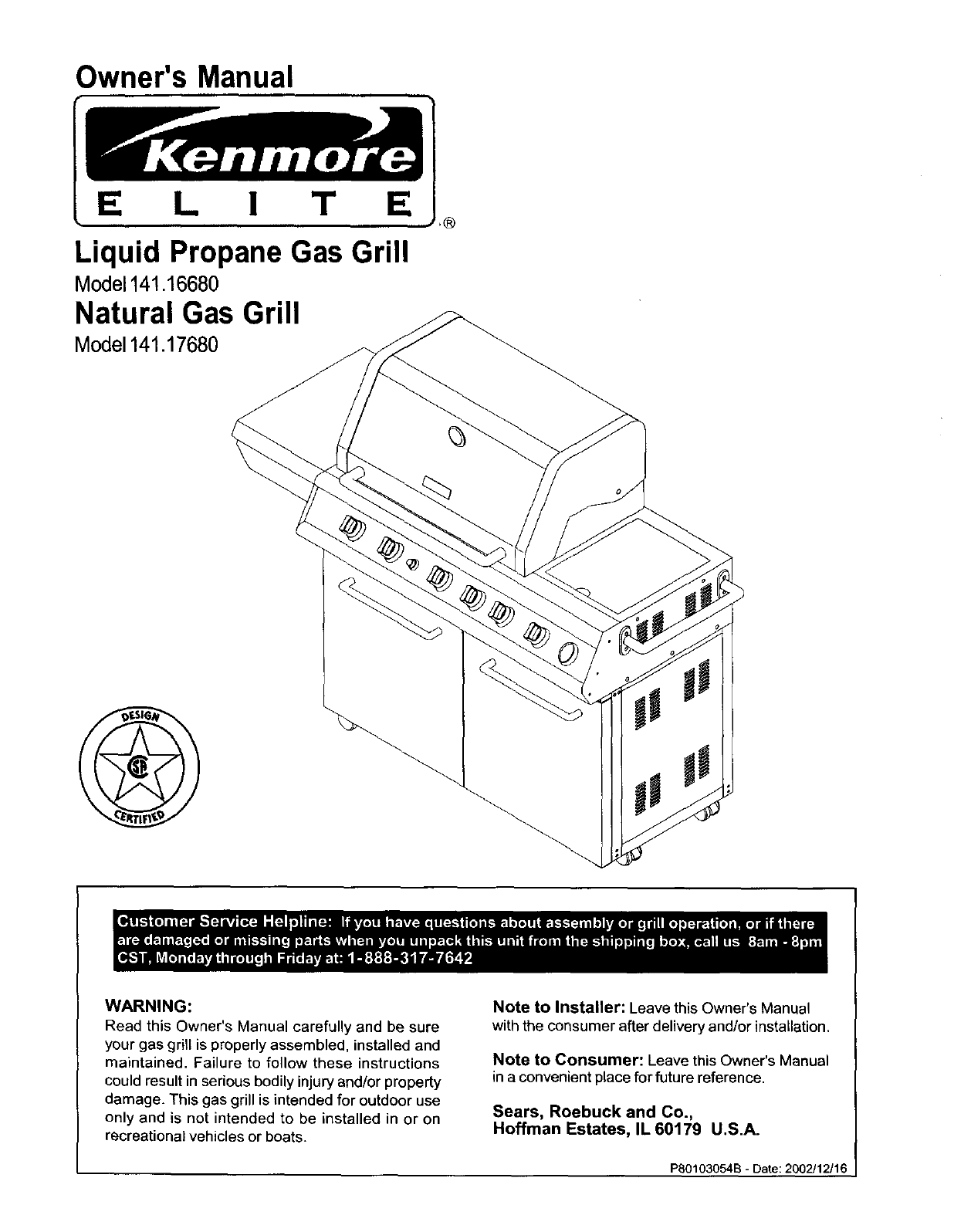 Download Kenmore Gas Grill 141.1668 manual and user guides