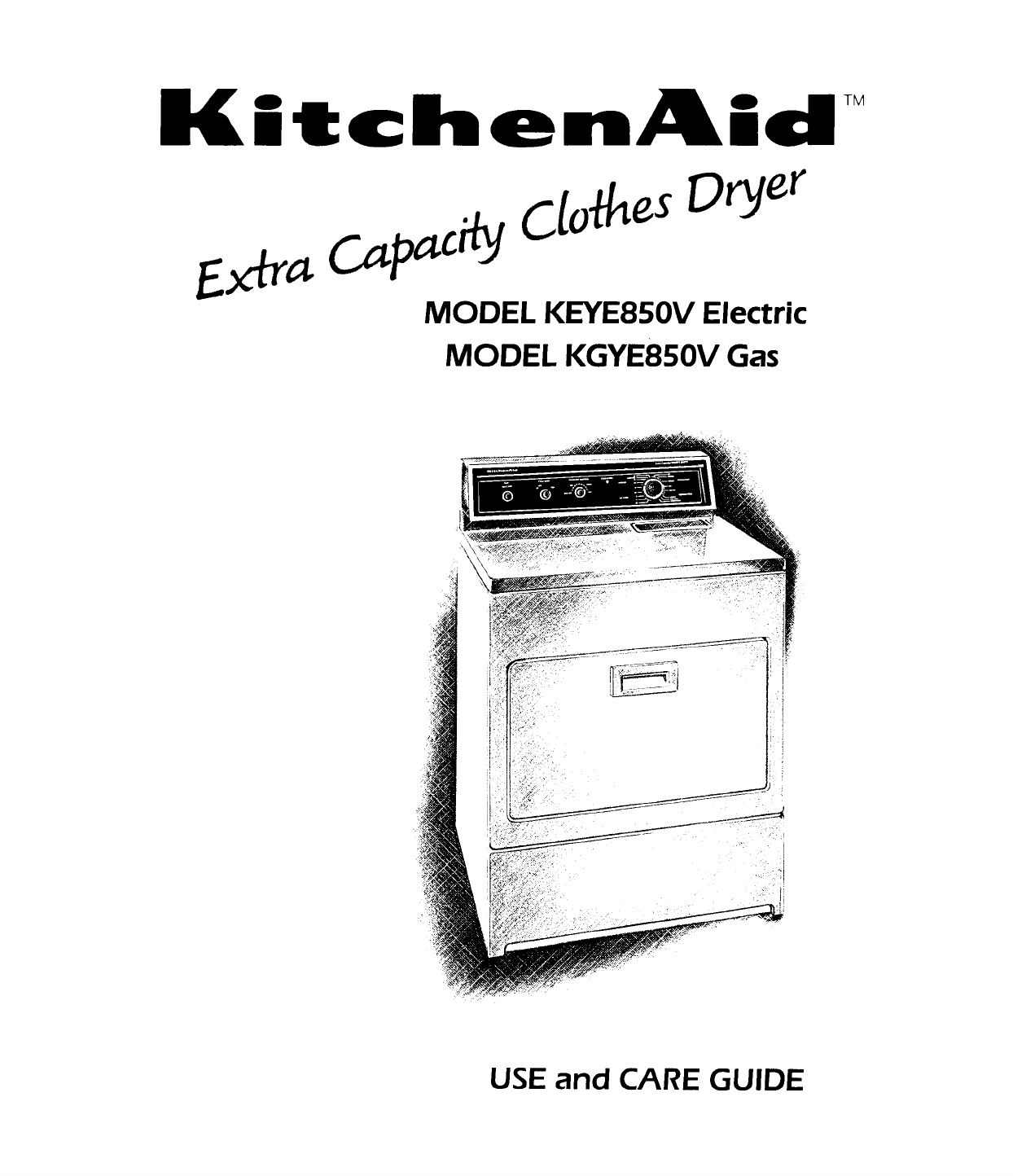 KitchenAid Clothes Dryer KEYE850V Electric manual