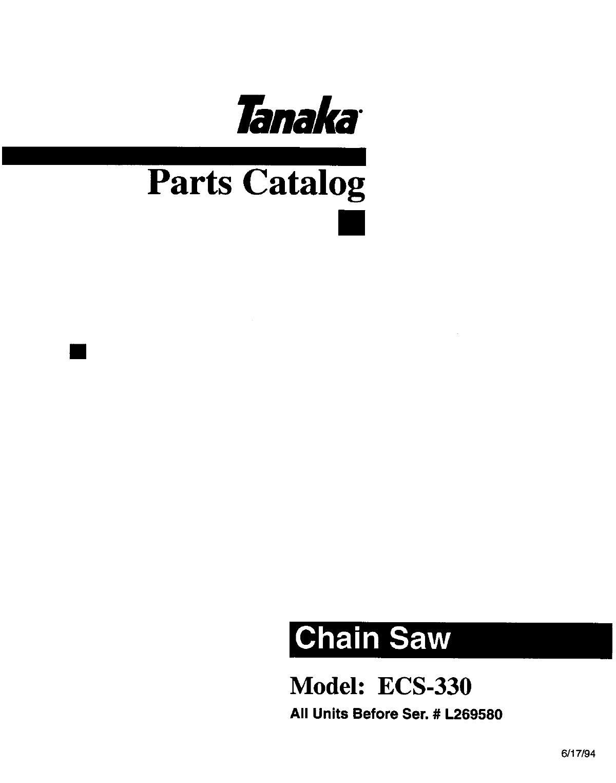 Download Tanaka Chainsaw ECS-330 manual and user guides