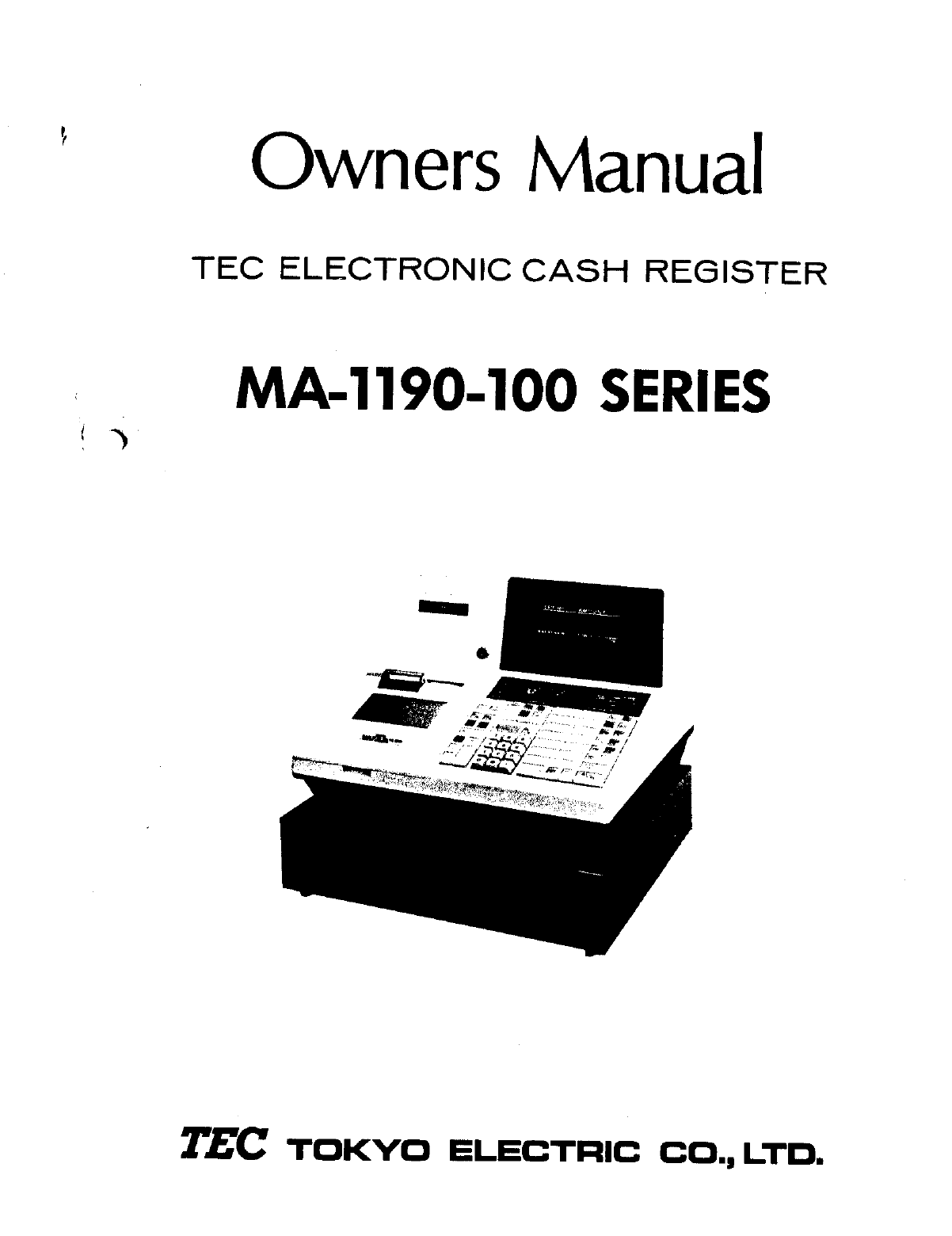 Toshiba Cash Register MA-1190 manual