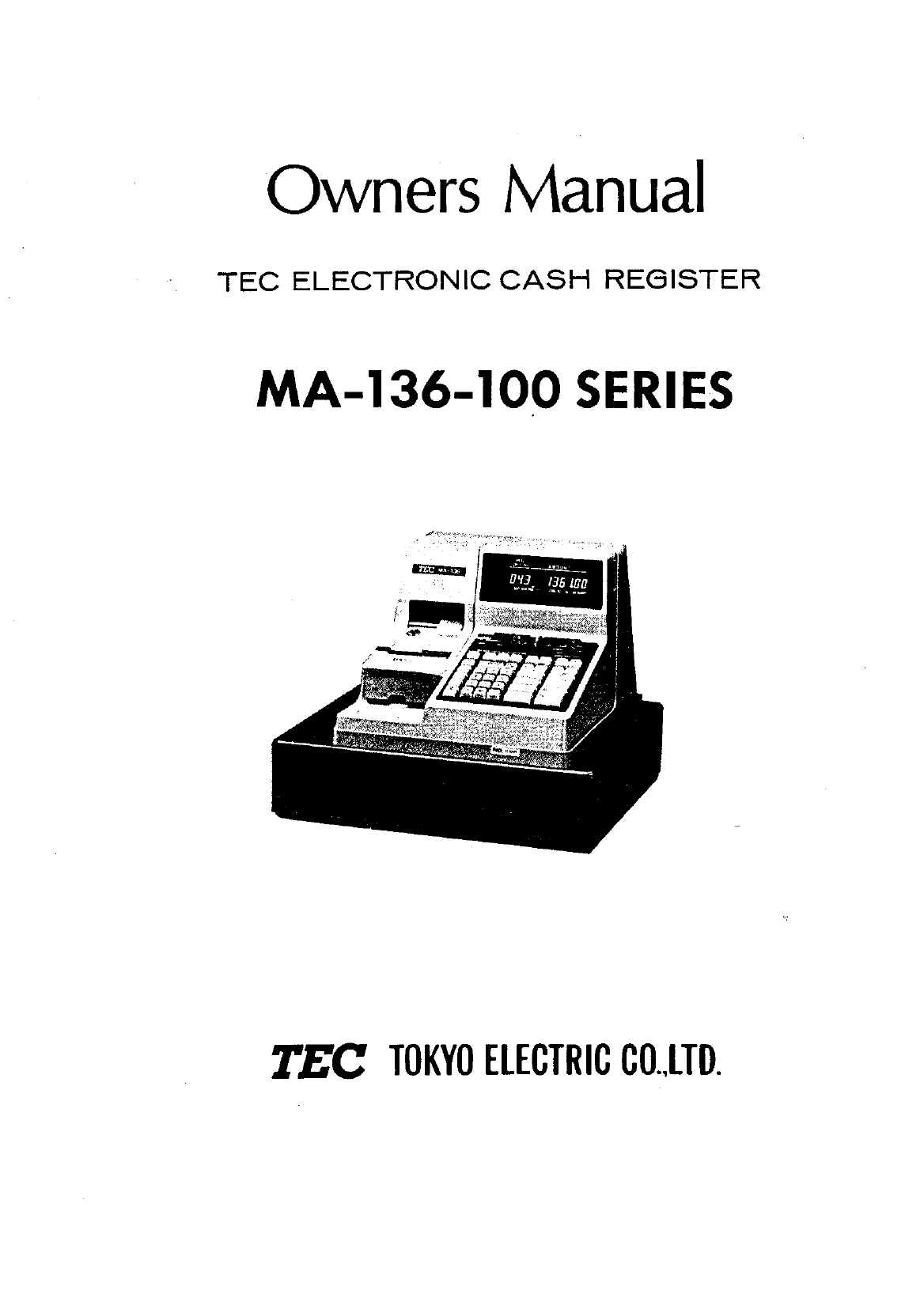 Toshiba Cash Register MA-136-100 SERIES manual