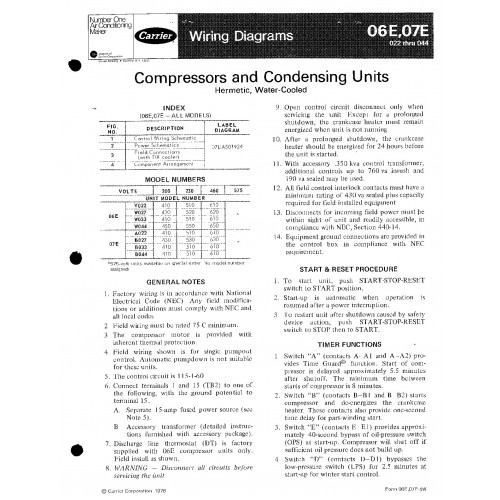 Carrier 06E Specifications and Manuals