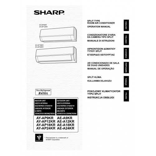 Sharp AY-AP9KR / AE-A9KR Specifications and Manuals
