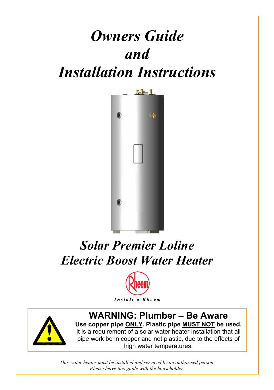 Rheem Water Heater Manual : rheem, water, heater, manual, Rheem, Water, Heater, Manual, Pages